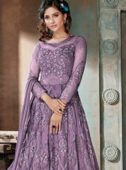 Embroidered Lavender Net Anarkali Salwar Kameez
