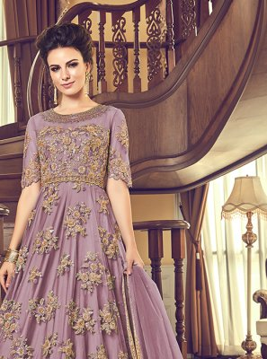 Embroidered Lavender Net Anarkali Salwar Suit