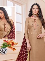 Embroidered Linen Churidar Salwar Kameez in Beige