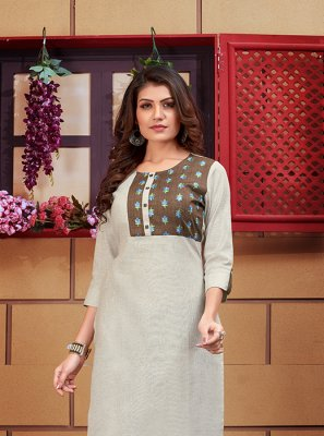 Embroidered Linen Designer Kurti