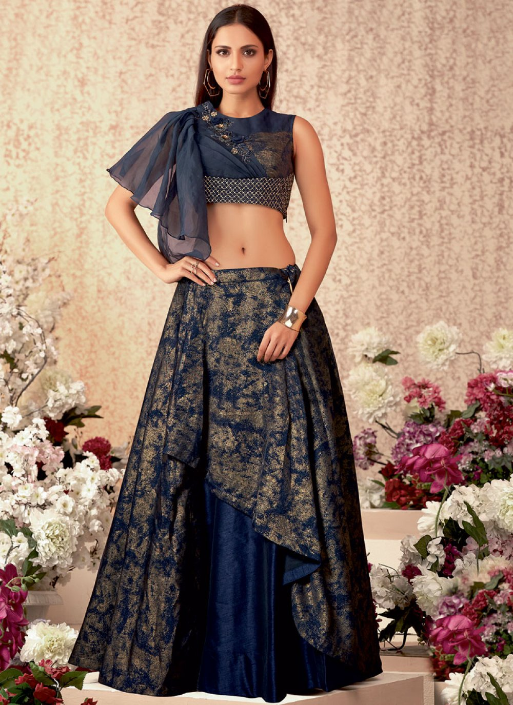 Embroidered Lycra Navy Blue A Line Lehenga Choli