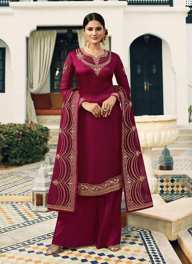 4c29784d1f Embroidered Magenta Designer Pakistani Suit buy online -