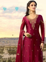 Embroidered Magenta Designer Pakistani Suit