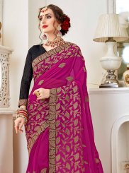 Embroidered Magenta Trendy Saree