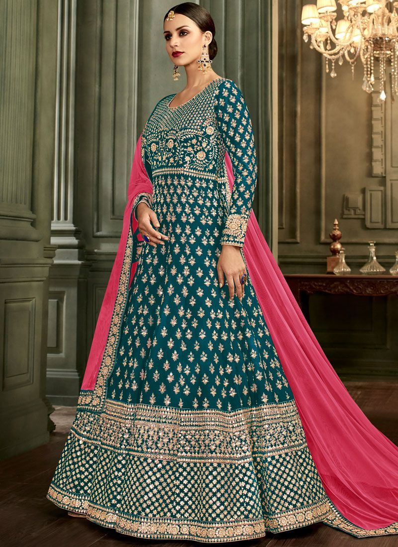Embroidered Malbari Silk  Blue Anarkali Salwar Suit