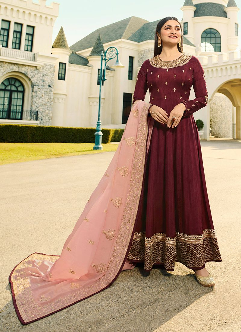 Embroidered Maroon Anarkali Salwar Suit