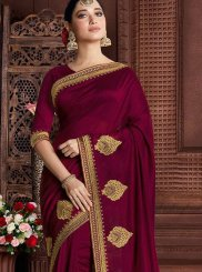 Embroidered Maroon Classic Saree