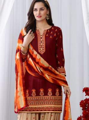 Embroidered Maroon Cotton Punjabi Suit