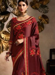 Embroidered Maroon Fancy Fabric Classic Saree