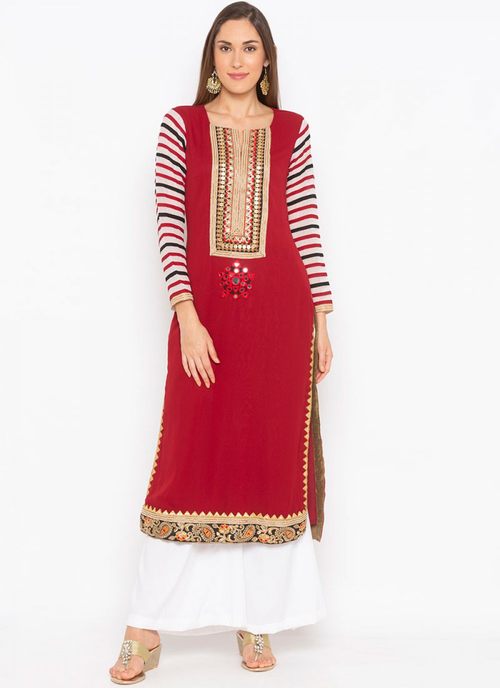 Embroidered Maroon Faux Georgette Party Wear Kurti