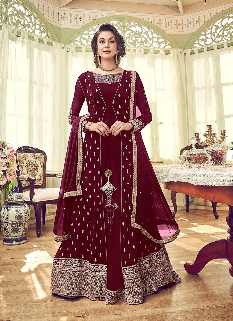 Embroidered Maroon Georgette Designer Salwar Kameez