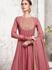 Embroidered Maroon Maslin Cotton Designer Gown