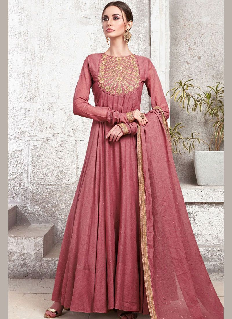 Embroidered Maroon Maslin Cotton Designer Gown