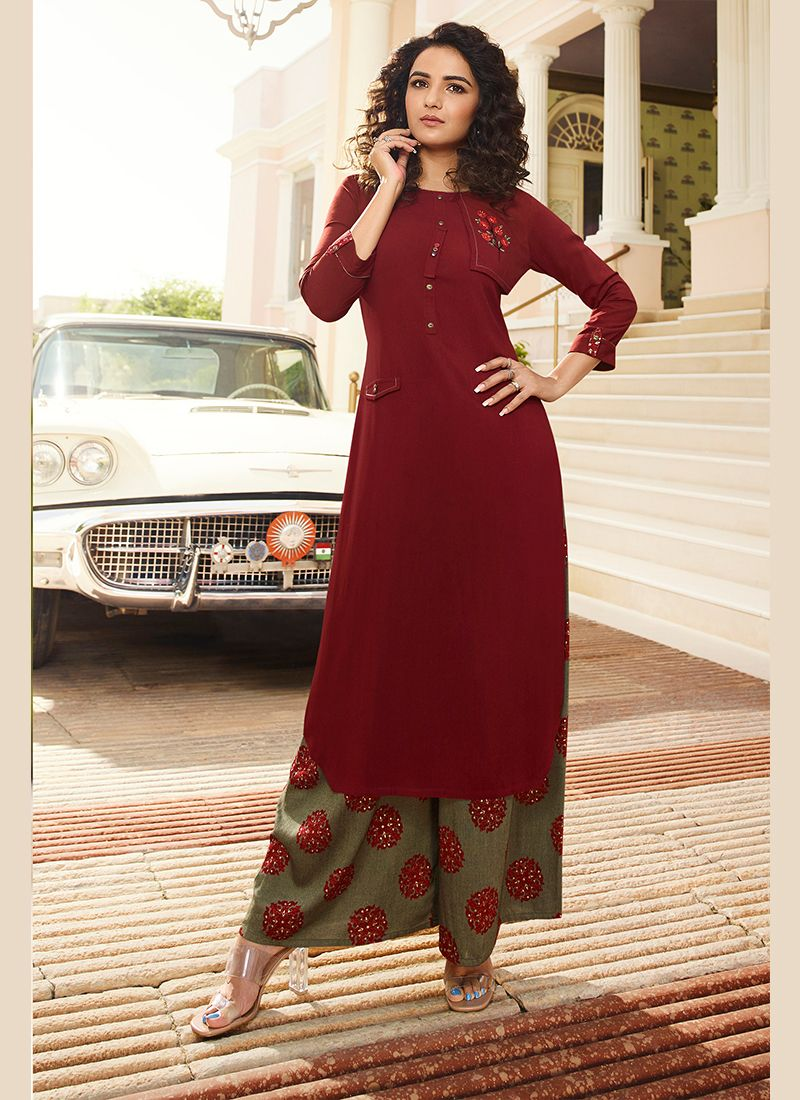 Embroidered Maroon Rayon Party Wear Kurti