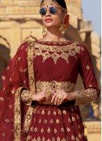 Embroidered Maroon Trendy Designer Lehenga Choli