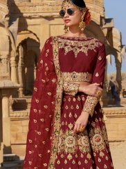 Embroidered Maroon Trendy Designer Lehenga Choli
