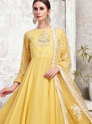 Embroidered Maslin Cotton Designer Gown in Yellow