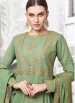 Embroidered Maslin Cotton Readymade Trendy Gown  in Green
