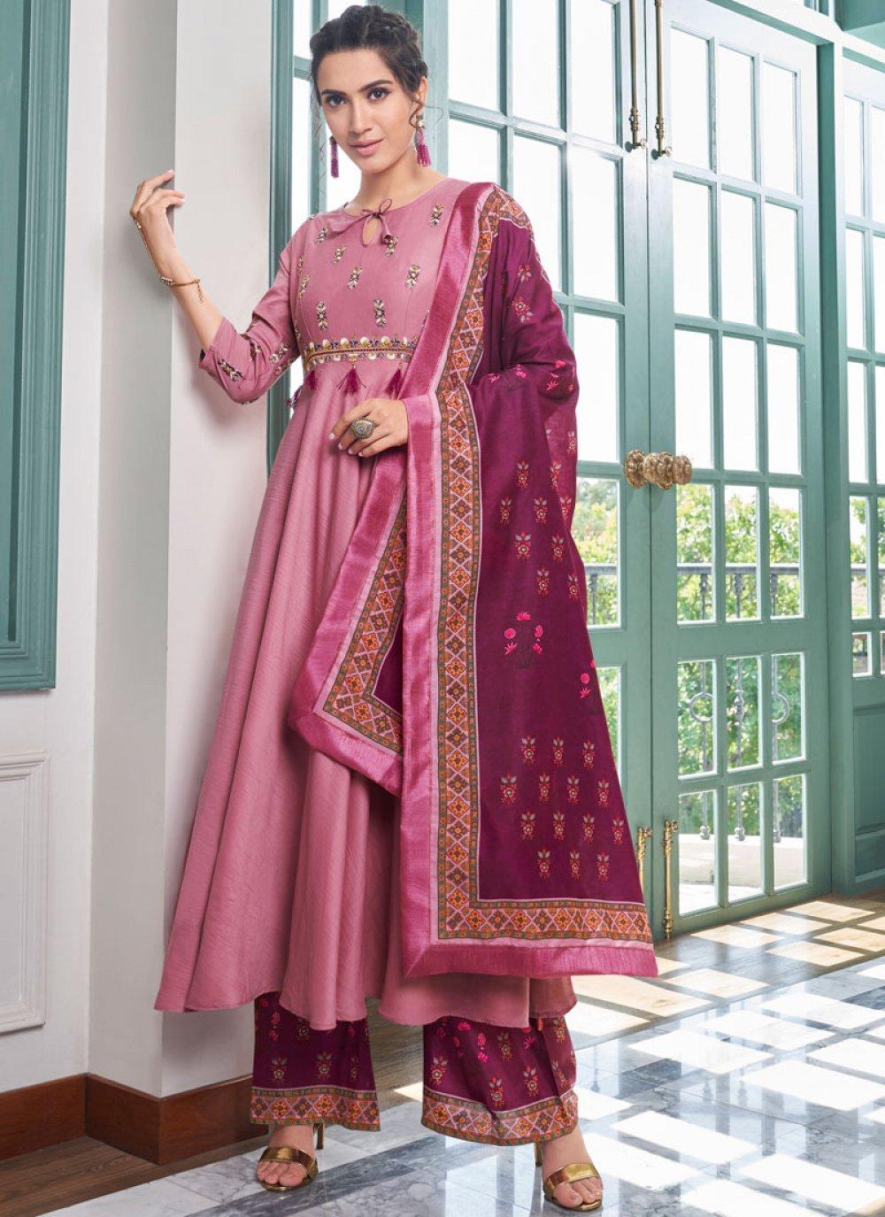 Embroidered Maslin Silk Designer Palazzo Salwar Suit