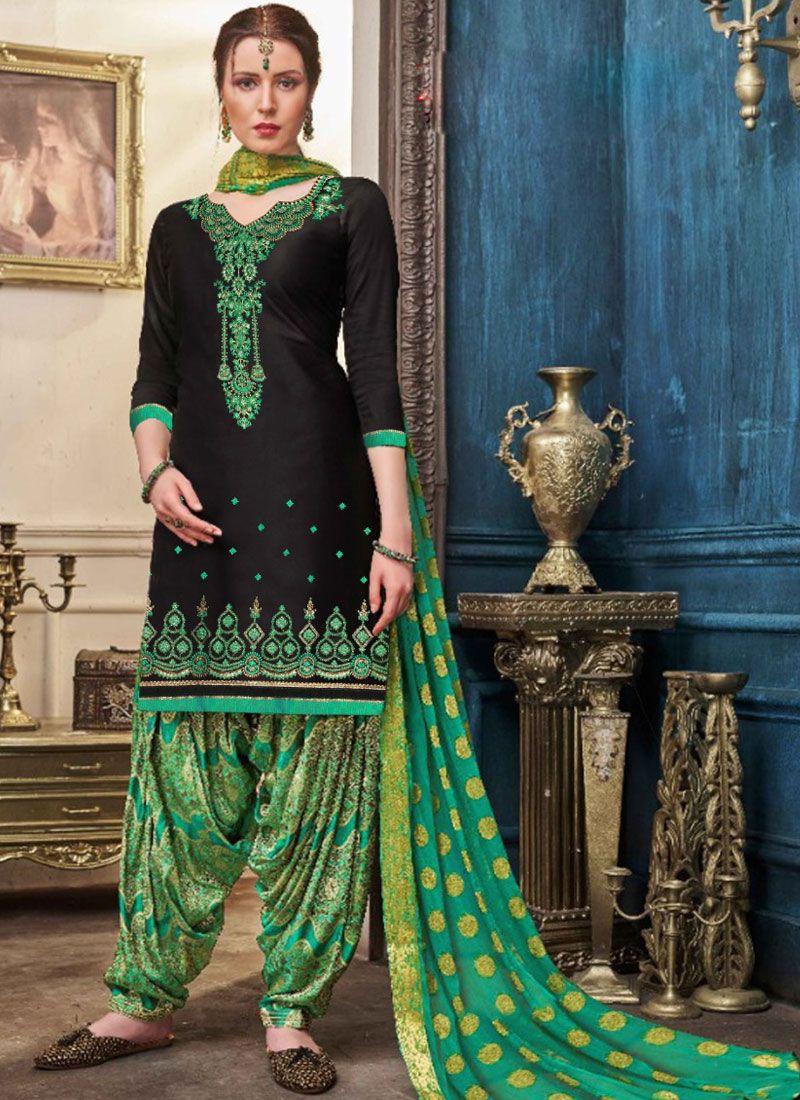 Embroidered Mehndi Designer Patiala Suit