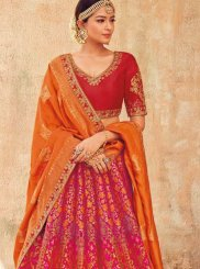 Embroidered Multi Colour Jacquard Designer Lehenga Choli