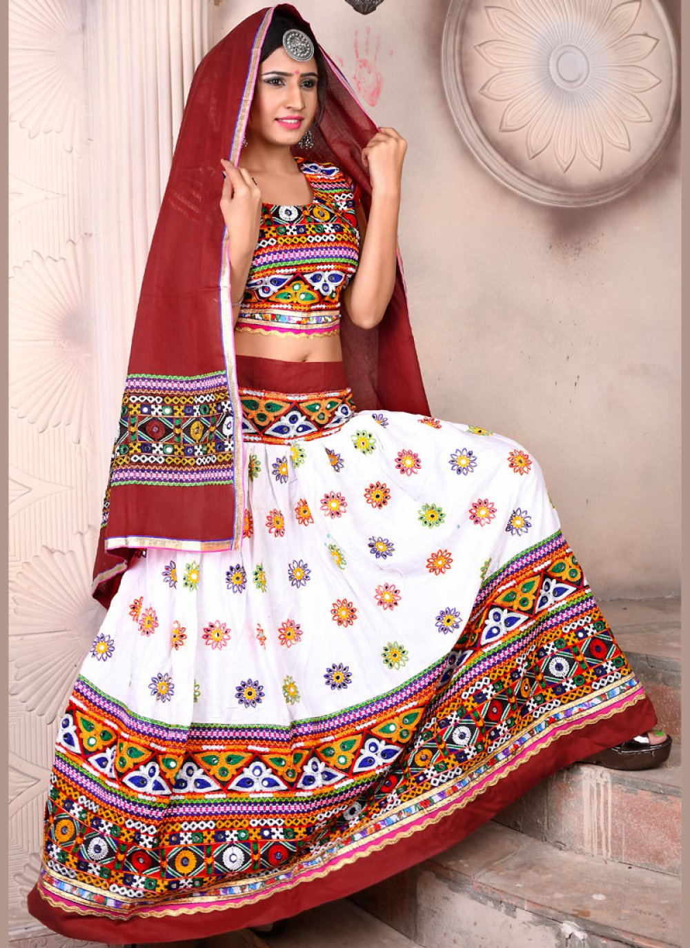 Embroidered Multi Colour Rayon Lehenga Choli