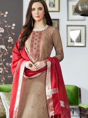 Embroidered Muslin Brown Designer Palazzo Suit