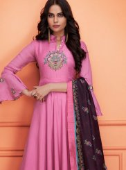 Embroidered Muslin Pink Palazzo Designer Salwar Suit