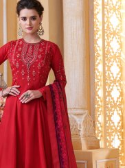 Embroidered Muslin Red Readymade Suit