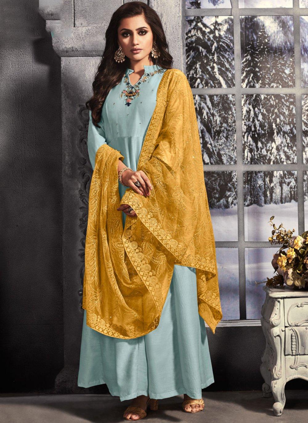 Embroidered Muslin Trendy Anarkali Salwar Kameez in Aqua Blue