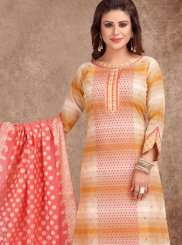 Embroidered Mustard and White Banarasi Silk Churidar Salwar Suit