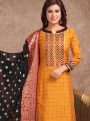 Embroidered Mustard Churidar Suit