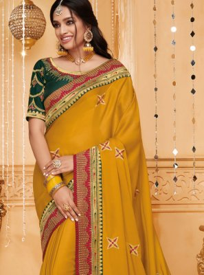 Embroidered Mustard Fancy Fabric Classic Saree