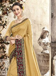 Embroidered Mustard Silk Classic Saree