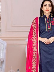 Embroidered Navy Blue Art Silk Churidar Designer Suit