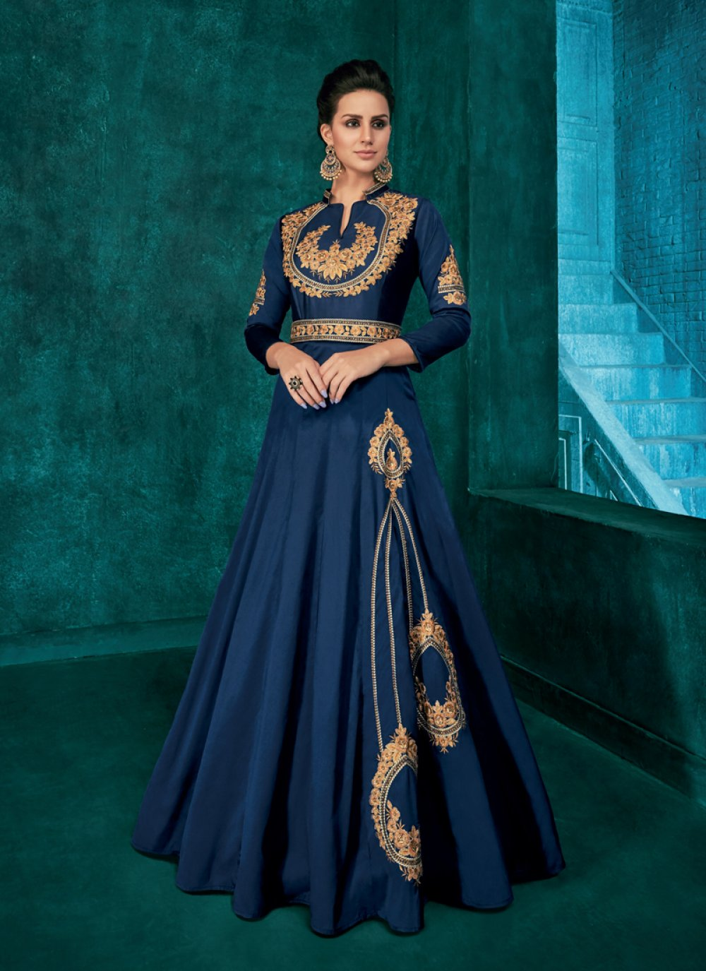 Embroidered Navy Blue Art Silk Readymade Gown