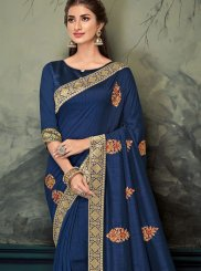 Embroidered Navy Blue Classic Saree