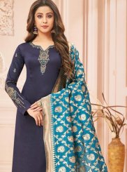 Embroidered Navy Blue Designer Straight Suit