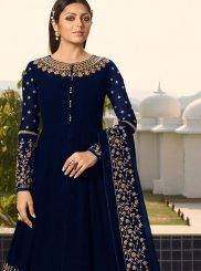 Embroidered Navy Blue Faux Georgette Designer Floor Length Salwar Suit
