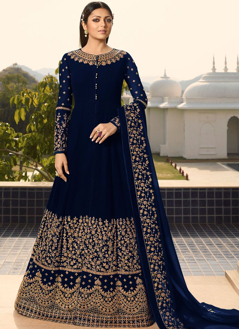 Embroidered Navy Blue Faux Georgette Designer Floor Length Salwar Suit