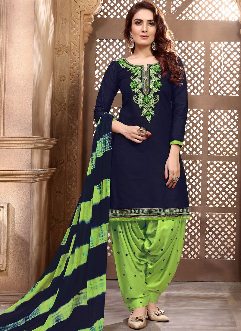 Embroidered Navy Blue Faux Georgette Designer Patiala Suit