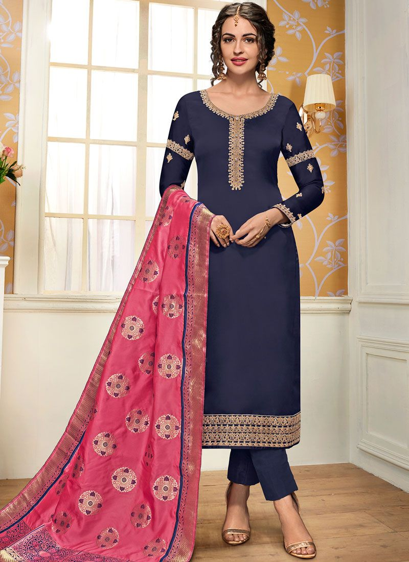 Embroidered Navy Blue Georgette Satin Pant Style Suit