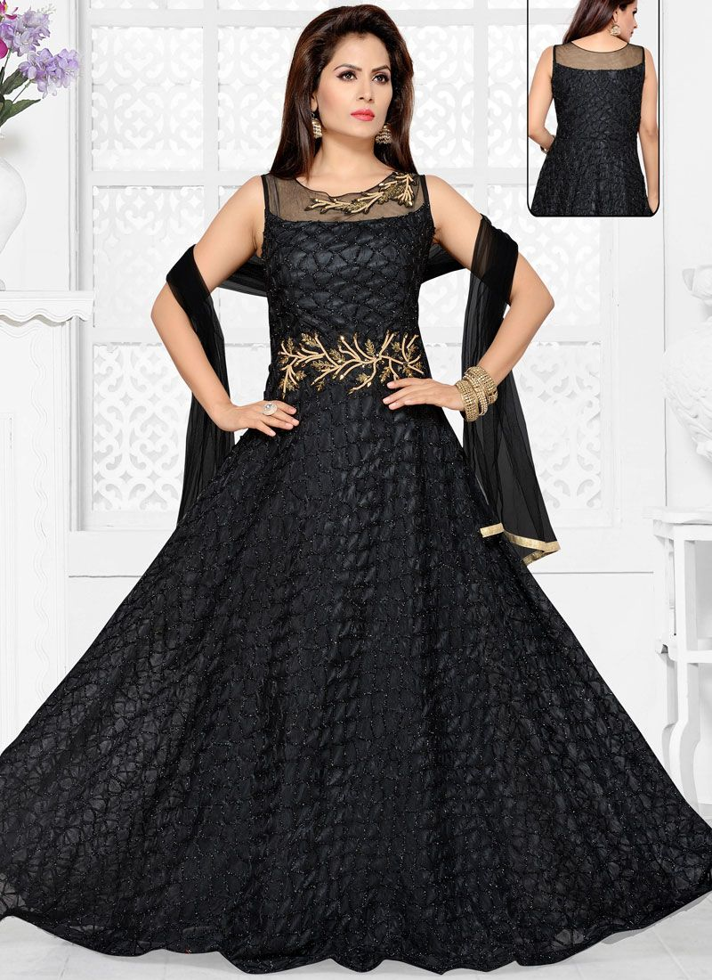 Embroidered Navy Blue Net Readymade Anarkali Suit