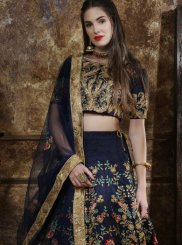 Embroidered Navy Blue Silk Designer Lehenga Choli
