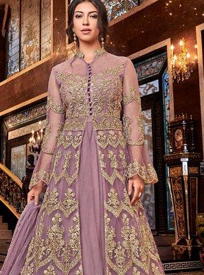 Embroidered Net Anarkali Salwar Kameez in Purple