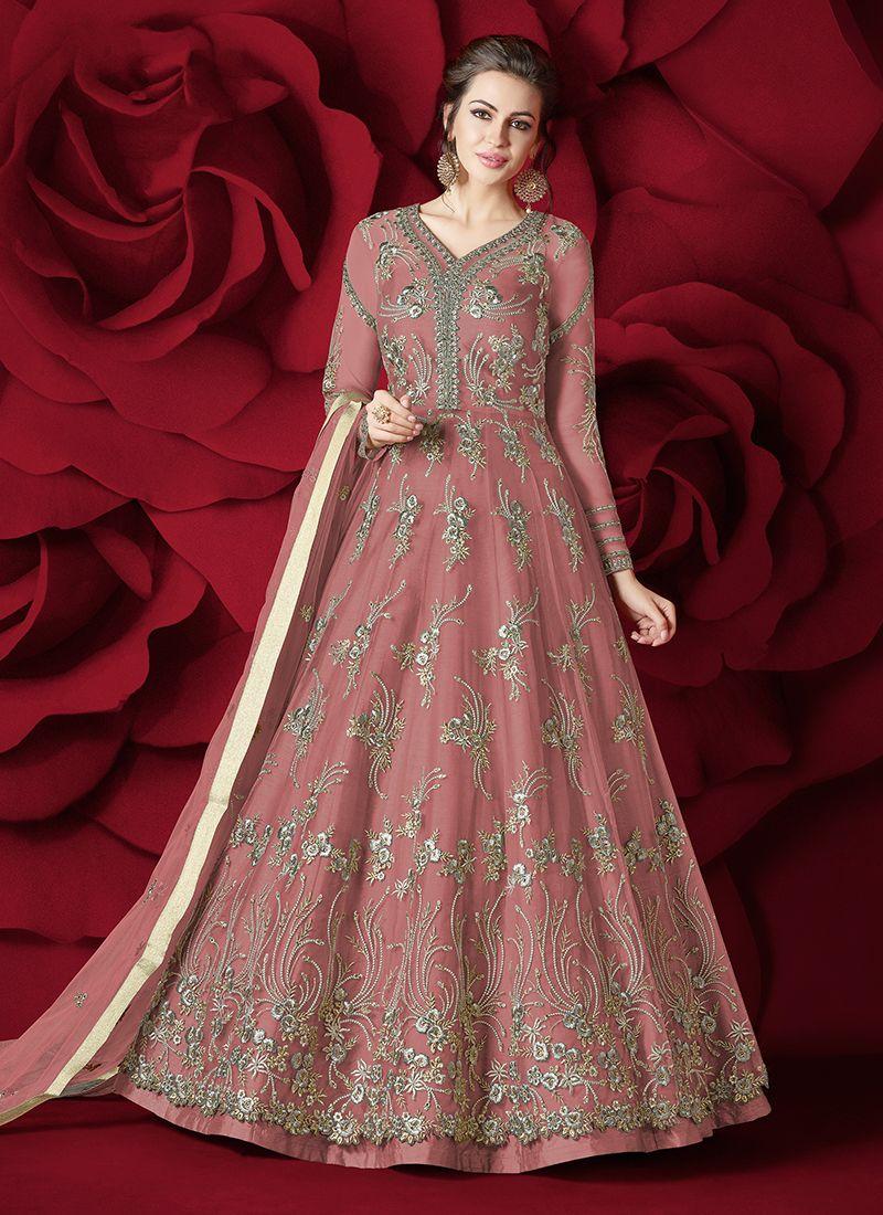 Embroidered Net Anarkali Salwar Suit
