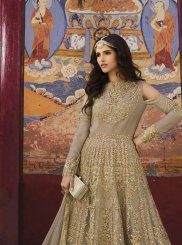 Embroidered Net Anarkali Salwar Suit in Beige