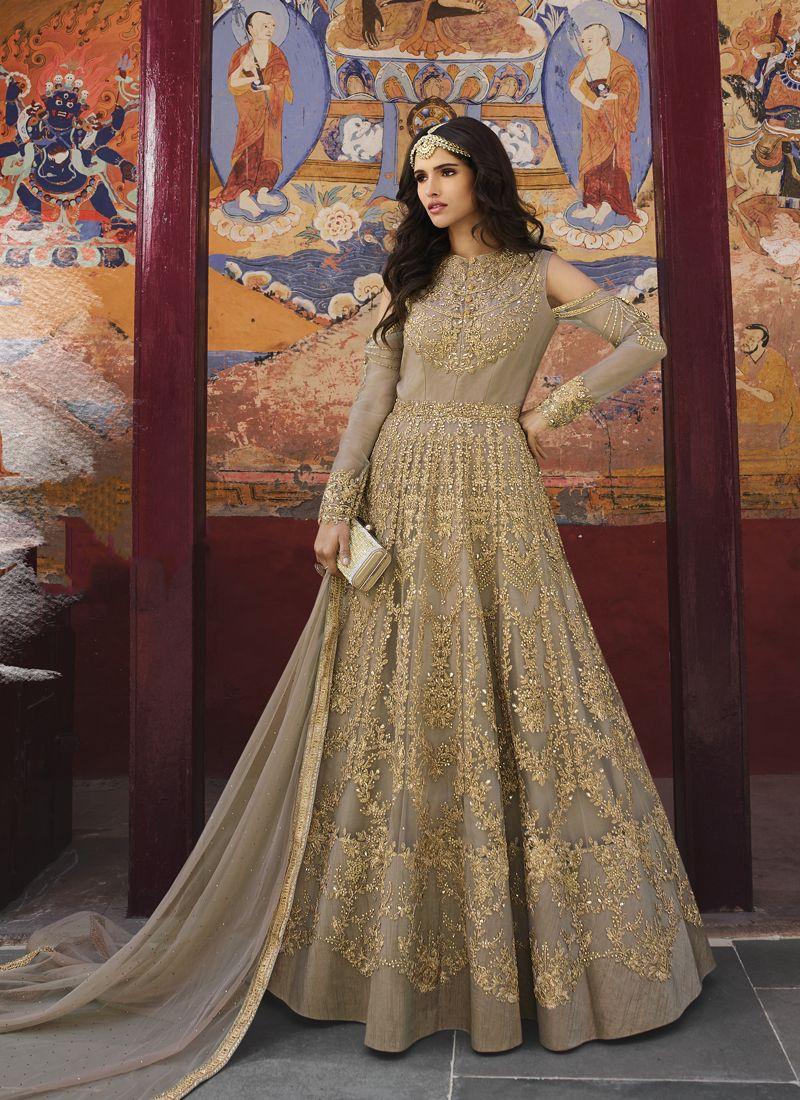 Embroidered Net Anarkali Salwar Suit in Beige