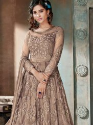 Embroidered Net Beige Anarkali Suit