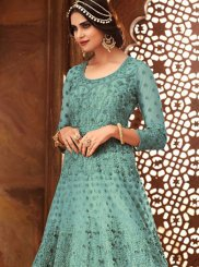 Embroidered Net Blue Floor Length Anarkali Suit